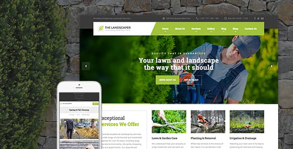 The Landscaper WordPress theme for Lawn & Landscaping Business